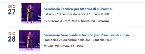Seminario tecnico tango intermedi prncipianti Pisa Livorno