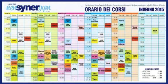 Orario Inverno 2015 Synergym Versilia Camaiore