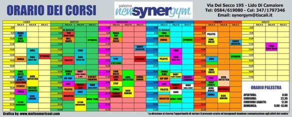 Orario corsi synergym febbraio 2015